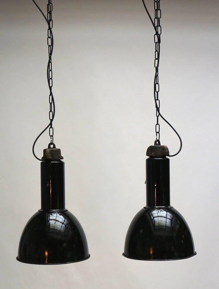 Italian Enamel Industrial Factory Pendant Lights For Sale