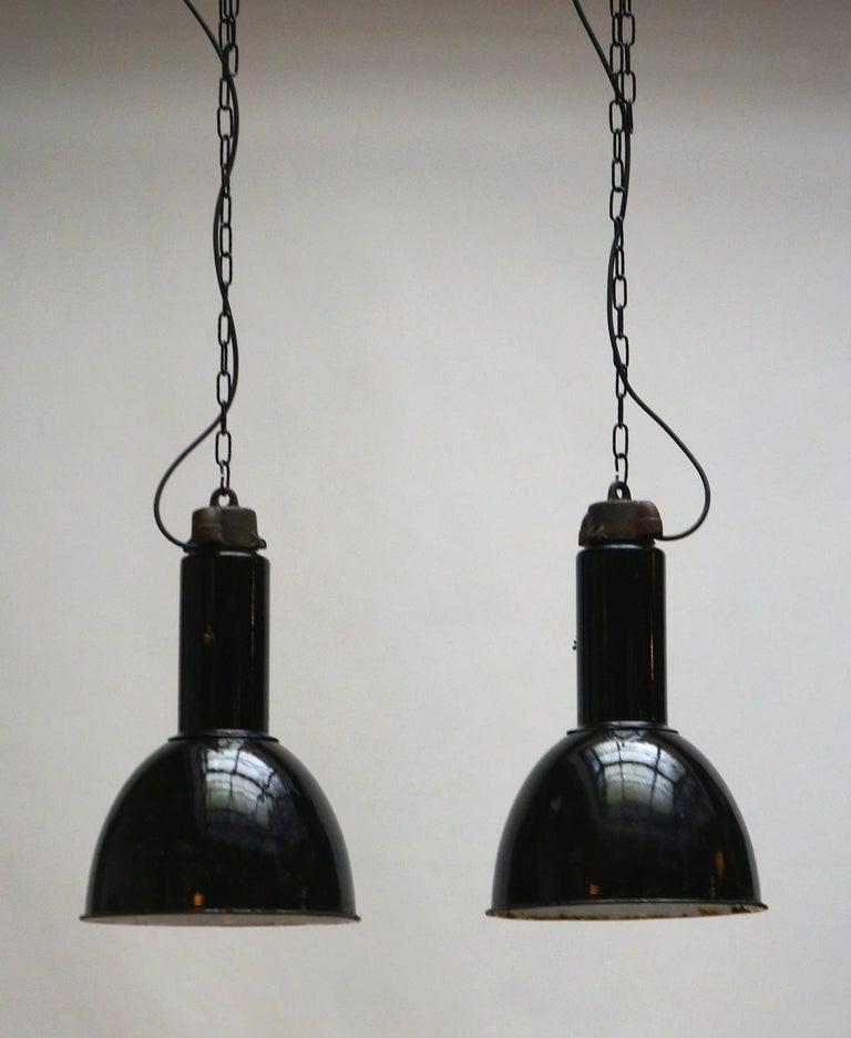 Enameled Enamel Industrial Factory Pendant Lights For Sale
