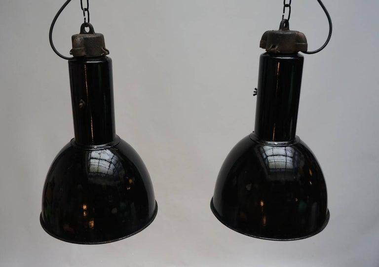 20th Century Enamel Industrial Factory Pendant Lights For Sale