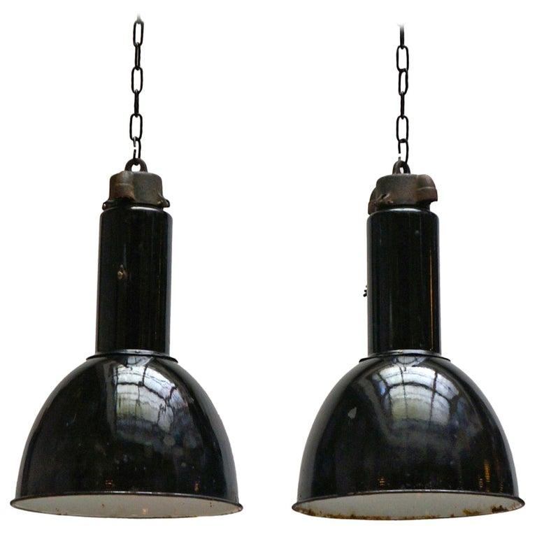 Enamel Industrial Factory Pendant Lights For Sale