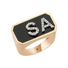 Enamel Letter Ring in 14k Rose Gold with White Diamond