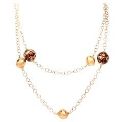 Enamel Long Chain Necklace 18 Karat Yellow Gold