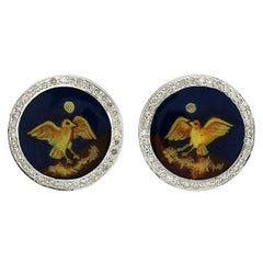 Diamond Enamel Nightingale Cuff links