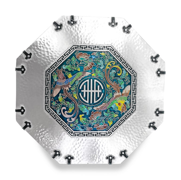 This gorgeous unique piece of art is Octagon shape and has beautiful enamel design on top . The enamel  colors are Yellow , Light Green, Dark Green , Dark Blue, Light Blue, Light Brown, Pink, Light Pink and Teal.On the side of the box has like a