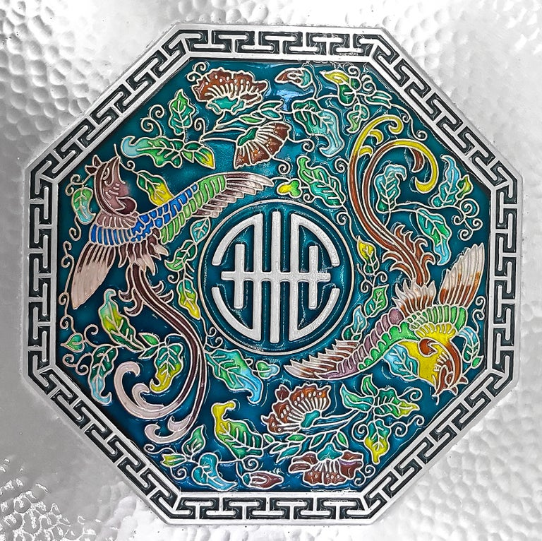 Art Deco Enamel Octagon Silver Box with 5 Sections Inside, 0.99 Karat Silver For Sale