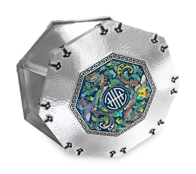 Women's or Men's Enamel Octagon Silver Box with 5 Sections Inside, 0.99 Karat Silver For Sale