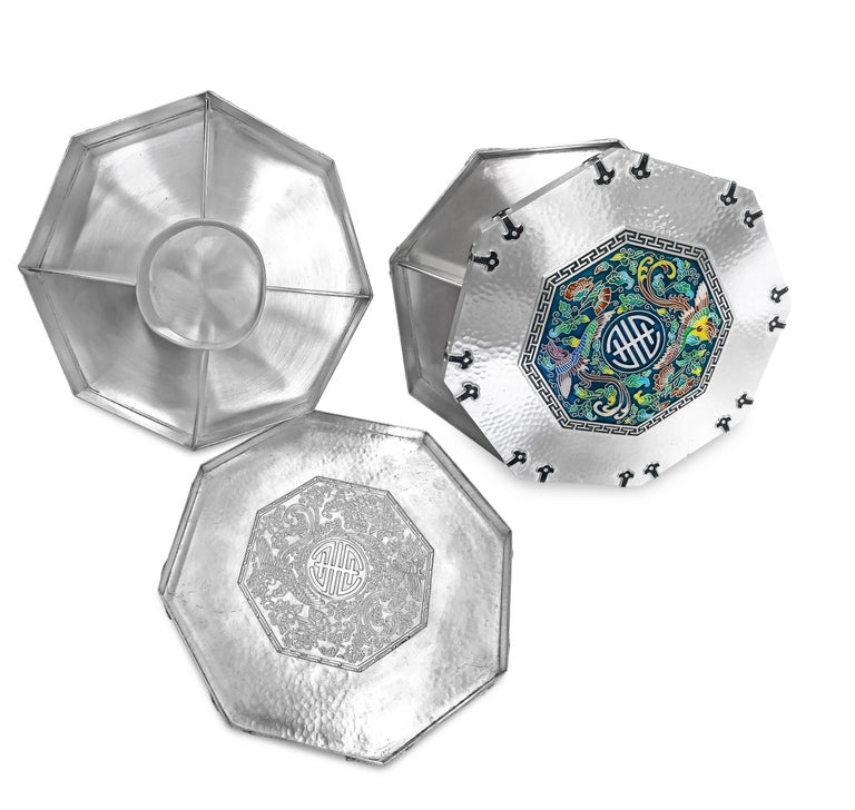 Enamel Octagon Silver Box with 5 Sections Inside, 0.99 Karat Silver For Sale 1
