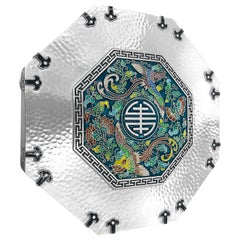 Enamel Octagon Silver Box with 5 Sections Inside, 0.99 Karat Silver