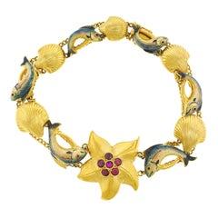 Enamel on Gold Seaside Bracelet