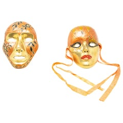 Enamel over Brass Masquerade Masks with Ribbon