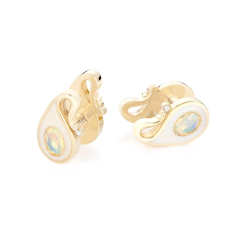 Contemporary 18k Yellow Gold Opals Diamonds Guilloche Enamel Double-Sided Paisley Cufflinks For Sale