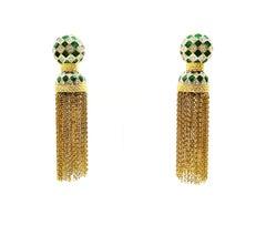 Enamel, paste and gilt chain 'tassle' drop earrings, 1980s