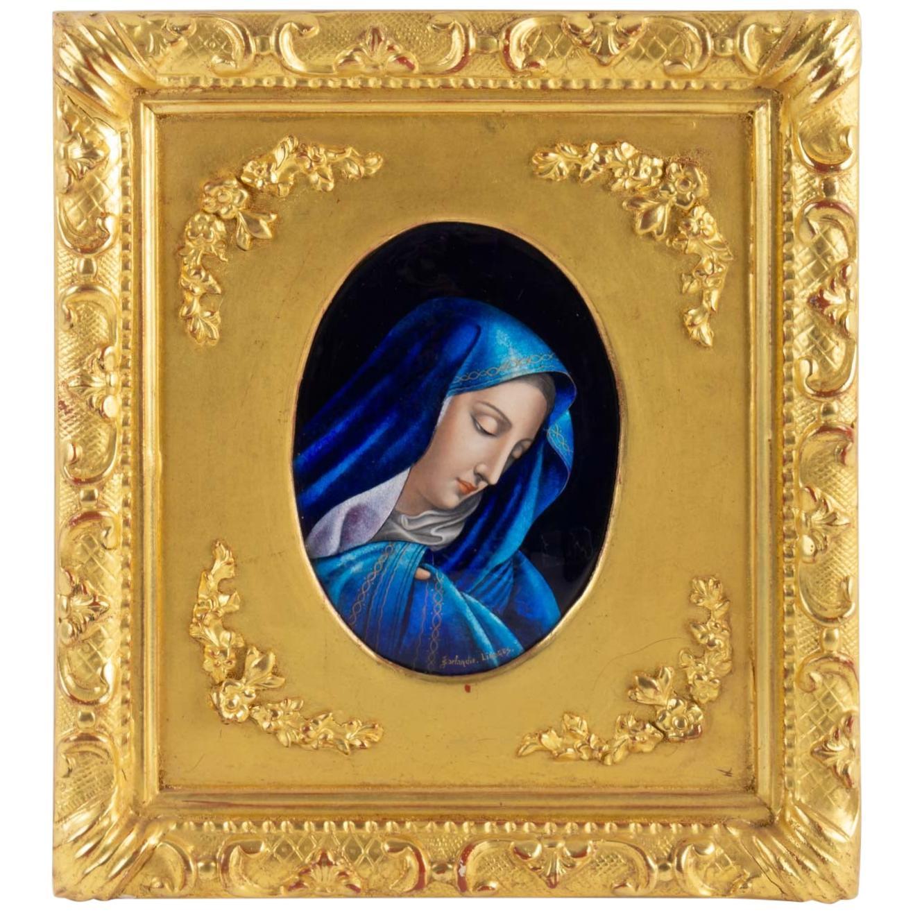 Enamel Plate The Virgin Mary by Jules Sarlandie