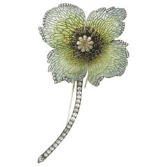 Enamel Poppy Brooch
