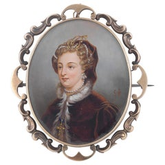Enamel Portrait Miniature Brooch, circa 1830