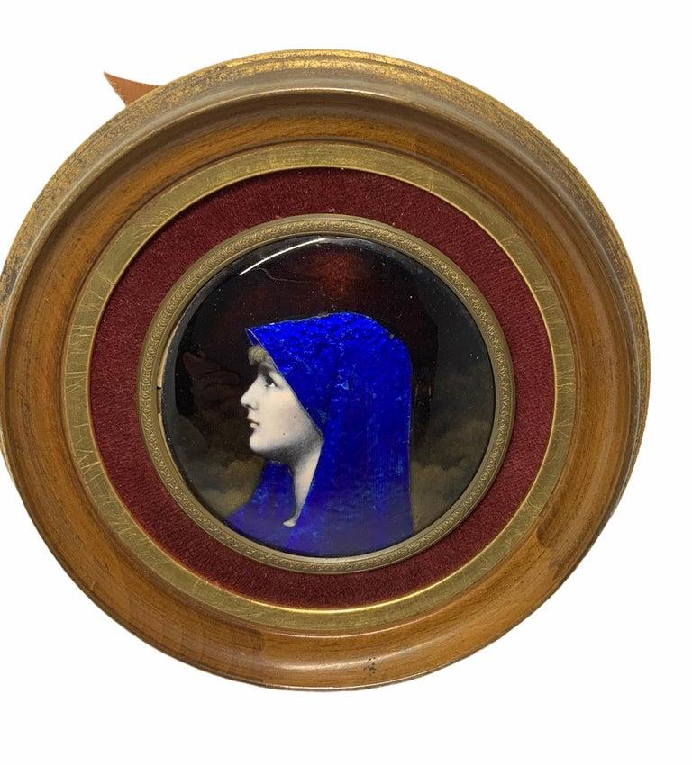 French Enamel Portrait of Fabiola Round Plaque For Sale