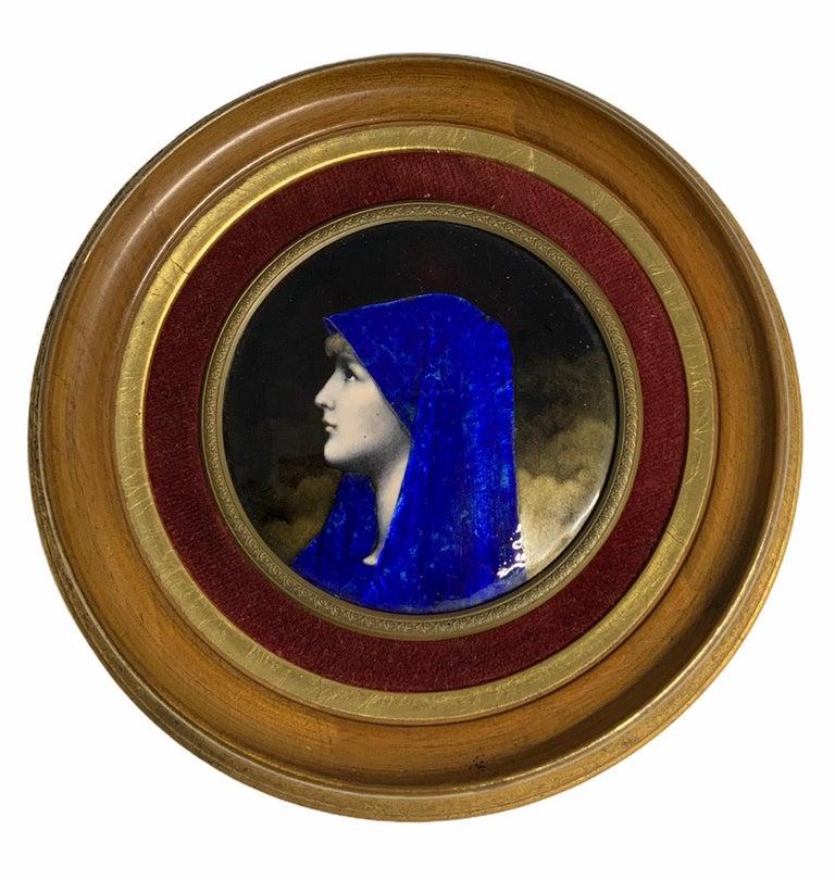 Enamel Portrait of Fabiola Round Plaque For Sale 1