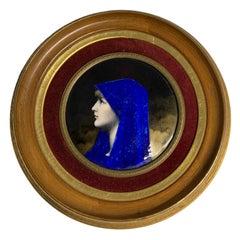 Enamel Portrait of Fabiola Round Plaque