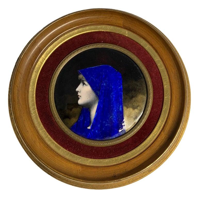 Enamel Portrait of Fabiola Round Plaque For Sale