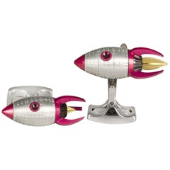 Deakin & Francis Red and Yellow Enamel Rocket Cufflinks