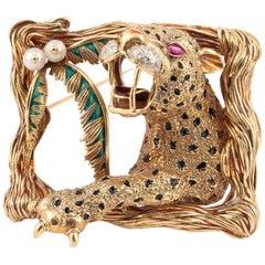 Enamel Rubies and Diamond Lion Brooch Frascarolo