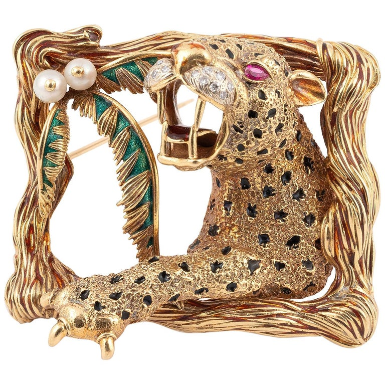 Enamel Rubies and Diamond Lion Brooch Frascarolo For Sale