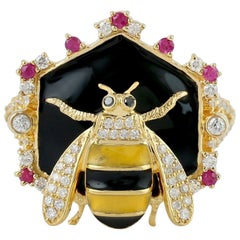 Enamel Ruby Diamond 18 Karat Gold Honey Bee Ring