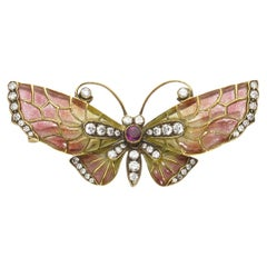Enamel Ruby Diamond Gold Butterfly Brooch