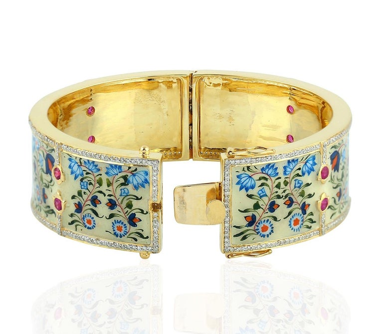Artisan Enamel Ruby Diamond Lotus Bangle Bracelet For Sale