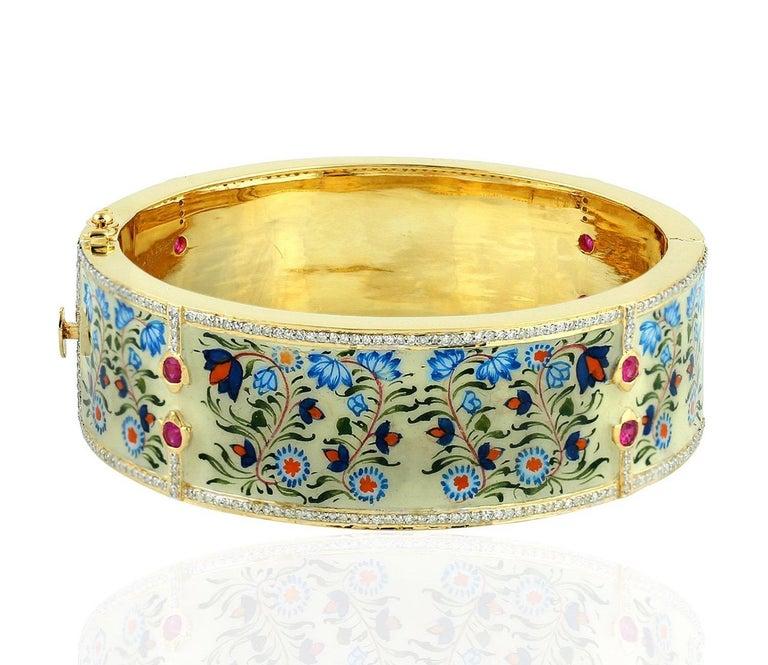 Enamel Ruby Diamond Lotus Bangle Bracelet In New Condition For Sale In Hoffman Estate, IL