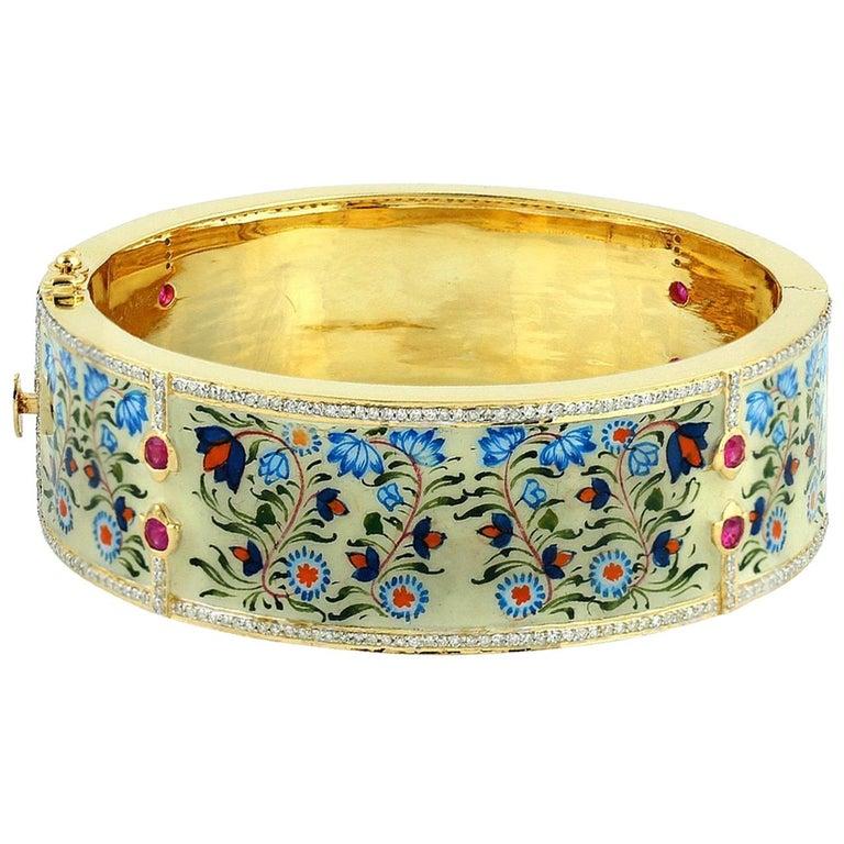 Enamel Ruby Diamond Lotus Bangle Bracelet For Sale