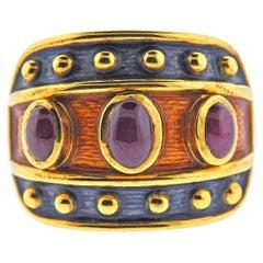 Enamel Ruby Gold Ring
