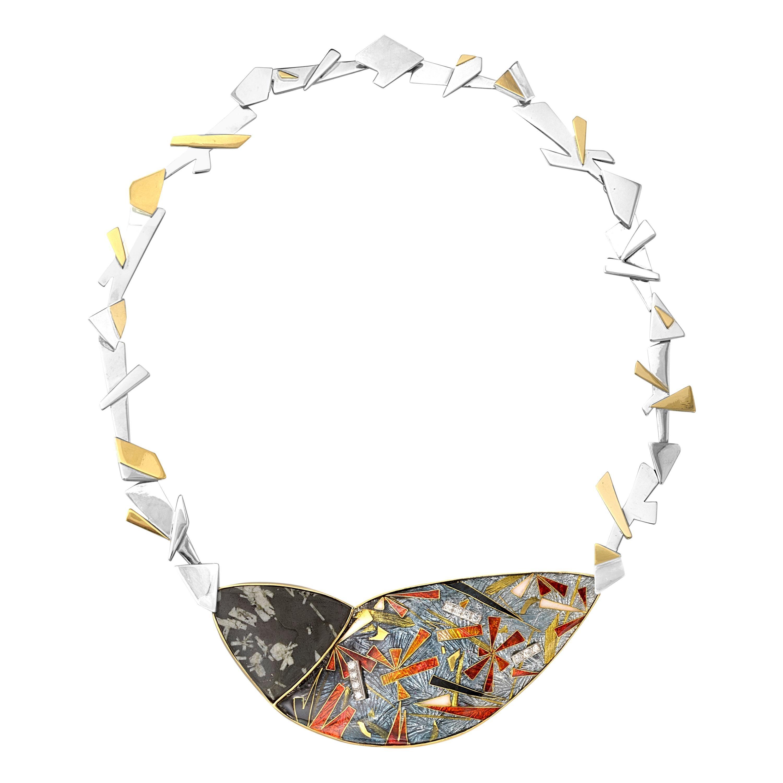 Enamel Silver 24 and 22 Karat Yellow Gold Diamond Necklace