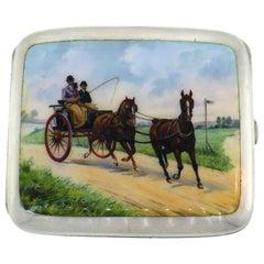 Enamel Silver Cigarette Case Hand Painted Equestrian Motif