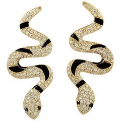 Enamel Snake 1.6 Carat Diamond 18 Karat Gold Earrings