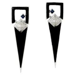 Enamel Spike Diamond 18 Karat Gold Arrow Stud Earrings