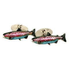 Enamel & Sterling Rainbow Trout Cufflinks