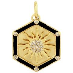 Enamel Sun Medallion 14 Karat Gold Diamond Pendant Necklace