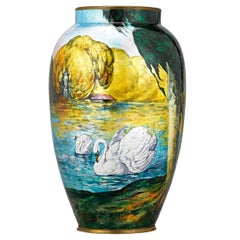 Enamel Swan Vase by Camille Fauré and Alexandre Marty