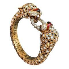 Enamel Tiger Bracelet and Ring by Frascarolo