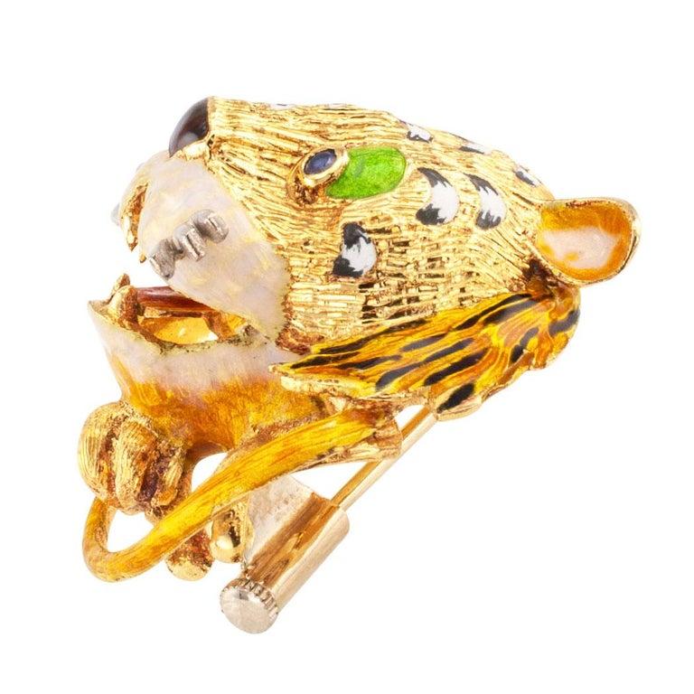 Modern Enamel Tiger Sapphire Gold Brooch For Sale