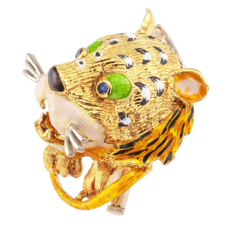 Round Cut Enamel Tiger Sapphire Gold Brooch For Sale