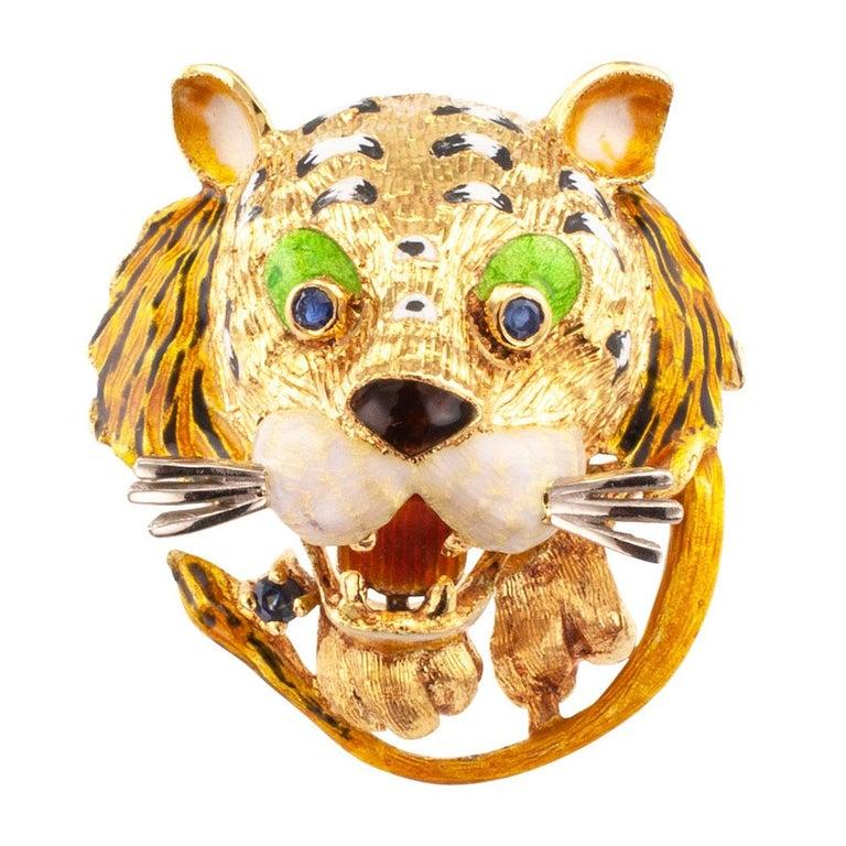Enamel Tiger Sapphire Gold Brooch For Sale