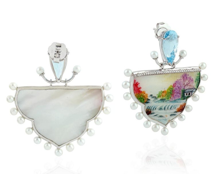 Artisan Enamel Topaz Diamond Pearl 18 Karat Gold Fall Earrings For Sale