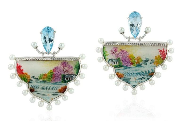 Rose Cut Enamel Topaz Diamond Pearl 18 Karat Gold Fall Earrings For Sale