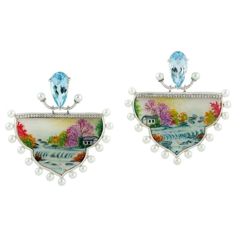 Enamel Topaz Diamond Pearl 18 Karat Gold Fall Earrings For Sale