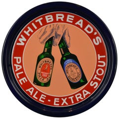 Enamel Tray Sign for Whitbread's Beer, Mid-20th Century