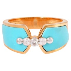 Enamel Turqoise Diamond 18 Karat Gold Ring