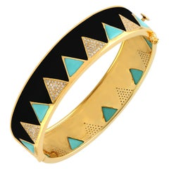 Enamel Turquoise Diamond Bangle Bracelet
