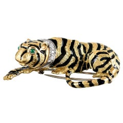 Enamel, Diamond and Emerald Tiger Brooch